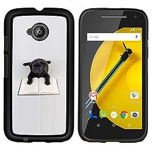 YiPhone /// Prima de resorte delgada de la cubierta del caso de Shell Armor - Negro juguete Pug Dog Libro de lectura Libros - Motorola Moto E2 E2nd Gen