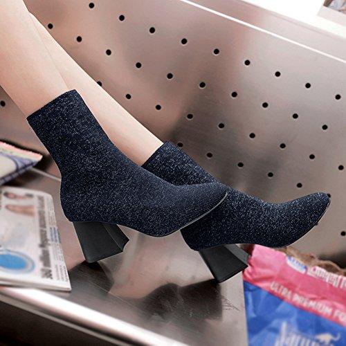 Btrada Dames Elastische Glitter Gebreide Enkellaarzen Pomp Blok Mid Hak Puntige Korte Sok Martin Booties Blauw