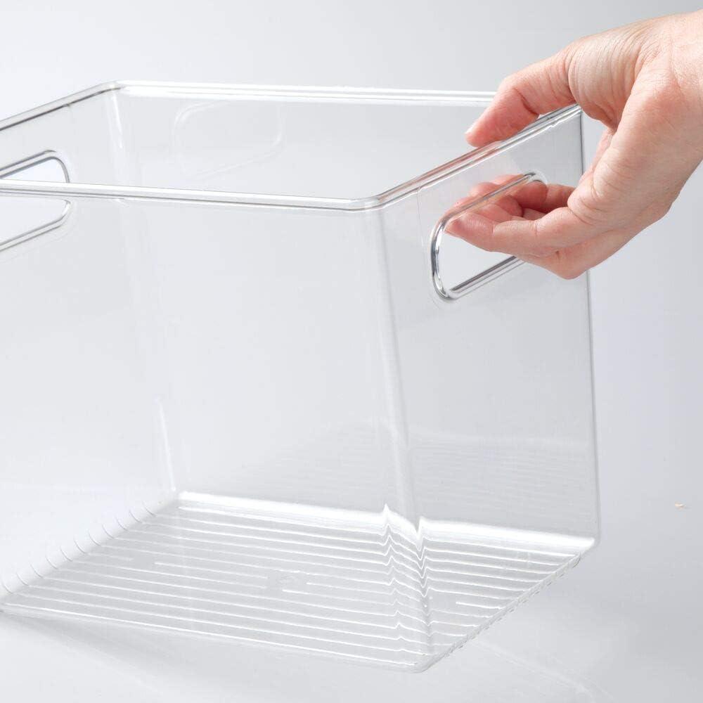 blanco Cajas organizadoras para material de oficina mDesign Caja de almacenaje con asas integradas Organizador de escritorio en pl/ástico con m/últiples usos para despacho y otras estancias