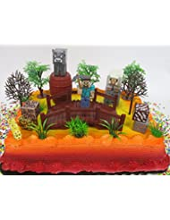 MINECRAFT 20 Piece Birthday Cake Topper Set Featuring Random Character Figures and Decorative Accessories