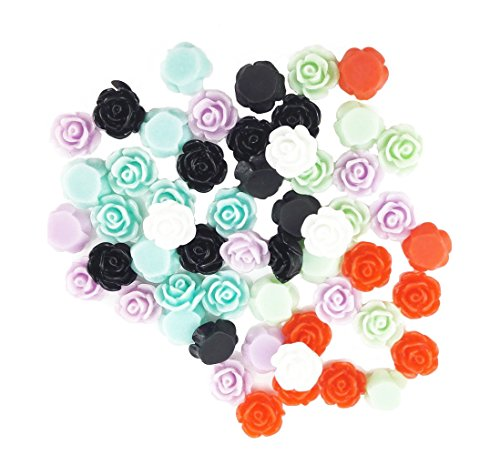 Flower Craft Beads Charms (yueton?Pack of 50 Mixed Color Resin Rose Flower Flatback Appliques for DIY Phone/Scrapbooking/Craft)