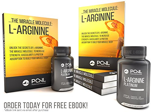 PacificCoast NutriLabs 2100mg L Arginine, All Natural Muscle Mass Formula, Free Ebook, 120 Capsules
