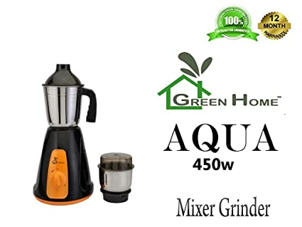 GTC Green Home Mixer Grinder 450w with Stainless Steel Jar (2 JAR, Black-Orange -Aqua)