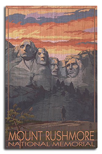 (Lantern Press Mount Rushmore National Memorial, South Dakota - Sunset View (10x15 Wood Wall Sign, Wall Decor Ready to Hang))