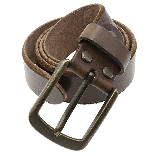Distressed Leather Buckle (Musesland Men Full Grain Leather Belt Adjustable for Buckle Vintage Snap on Strap 36 Size)