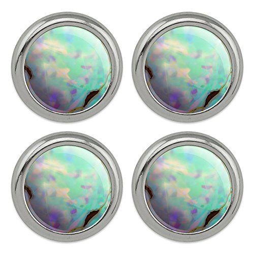 Gemstone Buttons (Opal Gemstone Picture (Image Only) Metal Craft Sewing Novelty Buttons - Set of 4)