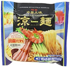 Myojo Chukazanmai Hiyashi Chuka Instant Cold Noodles are in a plastic bag for a delicious instant meal.