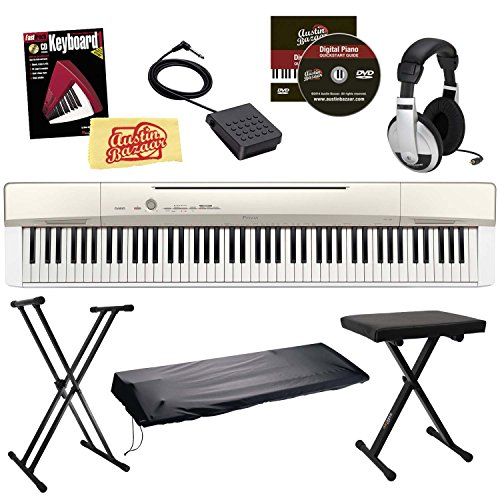 Casio Privia PX-160 Digital Piano - Champagne Gold Bundle with Adjustable Stand, Bench, Dust Cover, Headphones, Sustain Pedal, Instructional Book, Austin Bazaar Instructional DVD, and Polishing Cloth -  PX160GD