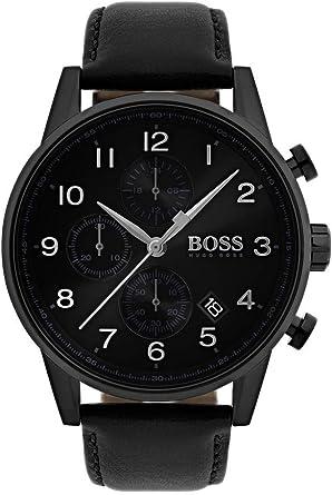 Hugo BOSS Reloj Cronógrafo para Hombre de Cuarzo con Correa en Cuero 1513497: Amazon.es: Relojes