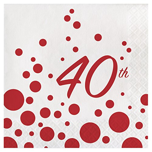 40th Anniversary Plates - Creative Converting 317857 Party Supplies Paper Lunch Napkins, Sparkle And Shine Ruby