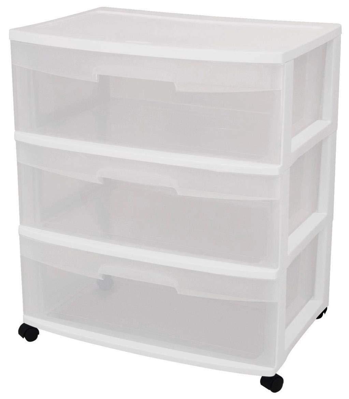 Sterilite 29308001 3 Drawer White Wide Storage Drawer Cart by STERILITE