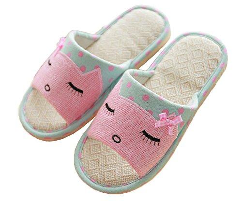 Child Breathable Parent Indoor iDuoDuo Kids Kid Slippers Hemp Men's Carpet Green Cute Cartoon Slippers Women's pASqAzw