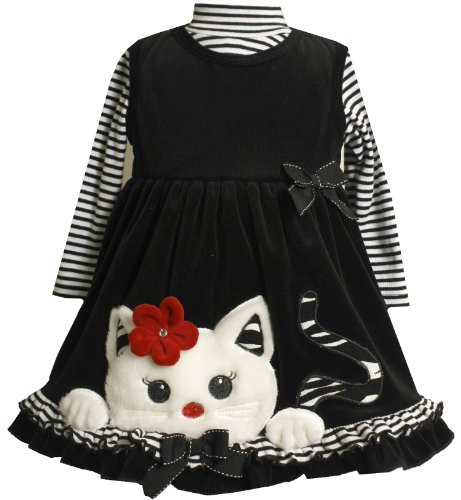 Bonnie Jean Little Girls' Cat Applique Jumper Set