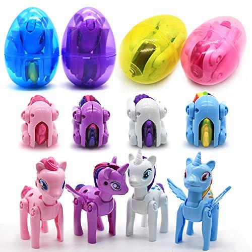GeeVen Easter Eggs Jumbo Unicorn DeformationToys Filled Basket Stuffers Fillers for kids Easter Gift Party Favor 4 Pack