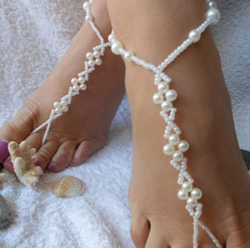 White Elastic Foot Jewelry Handmade Women Anklet Chain Braided Pearl Toe Chain Ankle Bracelet