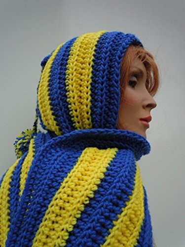 Colors Team Crochet - Sports Hooded Scarf, Royal Blue and Gold Yellow, Sports Team Colors Scoodie, Crochet Hooded Scarf