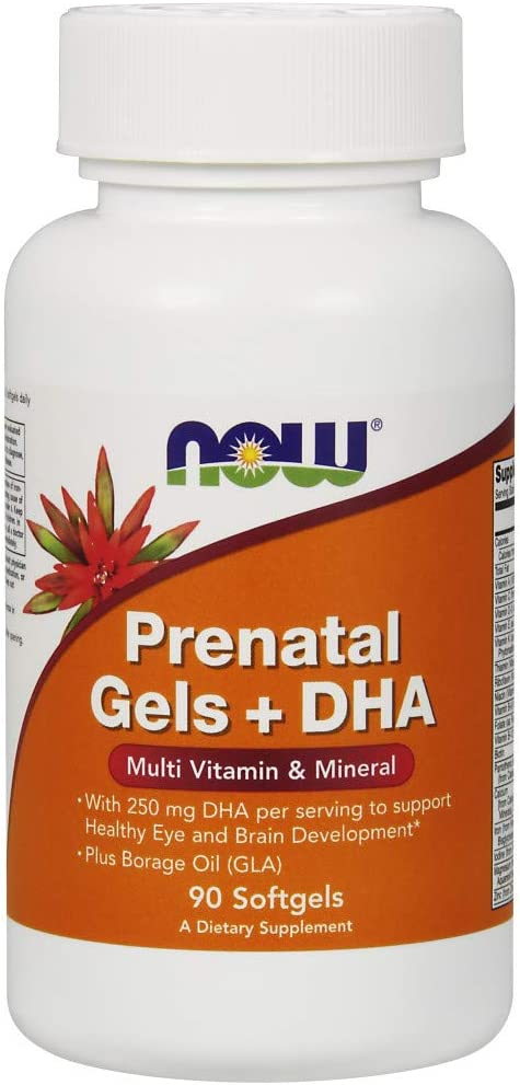 NOW Supplements, Prenatal Gels + DHA with 250 mg DHA per serving, plus Borage Oil (GLA), 90 Softgels