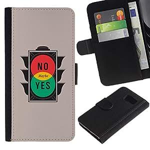 NEECELL GIFT forCITY // Billetera de cuero Caso Cubierta de protección Carcasa / Leather Wallet Case for Samsung Galaxy S6 // No Sí Tal vez