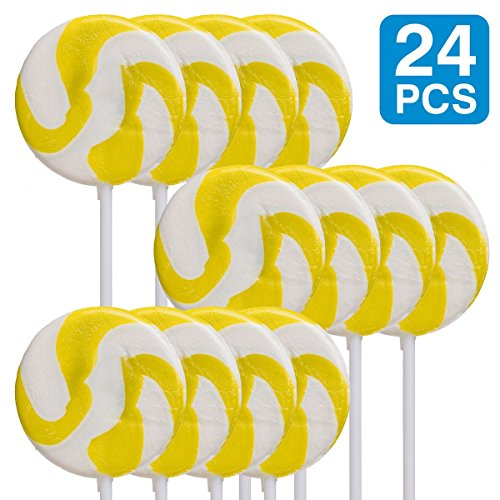 Fun Express Lemon Yellow 234; Swirl Lollipops (24 Pack) - Party Supplies -