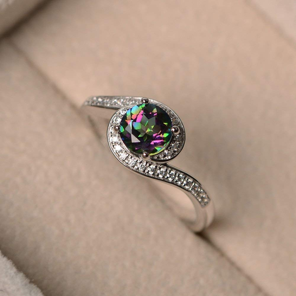 Mystic Topaz Rings For Women Sterling Silver Round Cut Unique Customized Multistone Jewelry Size 3-12