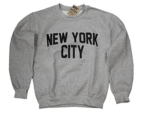 New York City Sweatshirt Screenprinted Gray Adult NYC Lennon Shirt -S