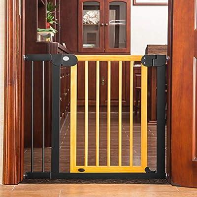 Barrera seguridad La puerta de seguridad de madera para puertas y escaleras, ajuste a presión, sin perforaciones, se abre a ambos lados, para bebés mascotas perros Barandilla resistente a los golpes: Amazon.es: