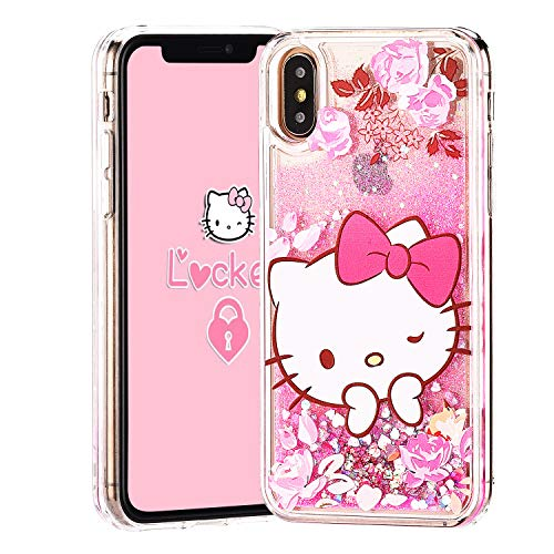 Logee Quicksand Kitty Pink Bling Glitter Girls Case for iPhone Xs Max 6.5,Cute Cartoon Kawaii Animal Flowing Liquid Adorable Soft Cover,Funny Unique Character Cases for Kids Teens Women (iPhoneXS Max