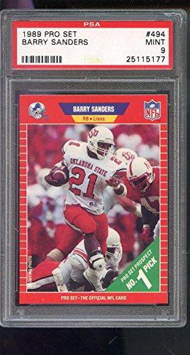 Barry Sanders Pro Football (1989 Pro Set ProSet #494 Barry Sanders ROOKIE RC MINT PSA 9 Graded Football Card)