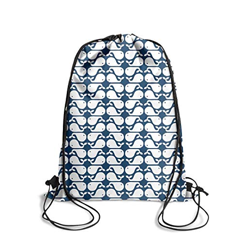 Drawstring Backpacks cute Whale navy and white pattern Cinch Gym School Bags Convenient Sackpack -