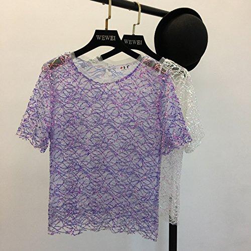 Xmy L'été des petites fil net manches courtes T-shirt est roulée et wild T-shirts code sont