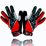 red and white cycling gloves - EliteX MTB Cycling Gloves for Men - Full Finger Gel Padded Shockproof Touch Screen Bike Gloves for Mountain Bike Cycling (Red, Large)