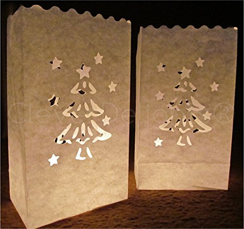 CleverDelights White Luminary Bags - 50 Count - Christmas Tree Design - Flame Resistant - Luminaria Decor -