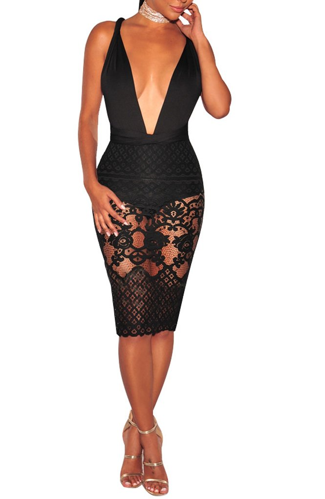Sexycherry Women Boho Bodycon Sexy Lace Floral Halter Strap Deep V Neck Evening Club Mini Dress,Black,Large