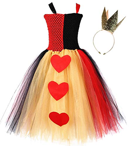 Tutu Dreams Halloween Alice in Wonderland Queen of Hearts Costume Girls Role Play (X-Large, Queen of Hearts) -