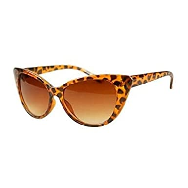 ff06b00f9e Sufias Accessories 50s 60s Style Womens Cat Eye Sunglasses Retro Rockabilly  Glasses Vintage (Animal leopard - Brown Lens)  Amazon.co.uk  Clothing
