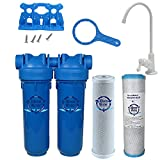 Chlorine Sediment Chloramine Lead Water Filter, KleenWater KW1000 Chemical Removal Under Sink Drinking Water Filtration System, White Faucet, Two Filter Cartridges