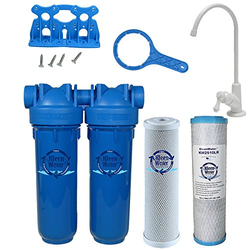 Chlorine Sediment Chloramine Lead Water Filter, KleenWater KW1000 Chemical Removal Under Sink Drinking Water Filtration System, White Faucet, Two Filter Cartridges by KleenWater