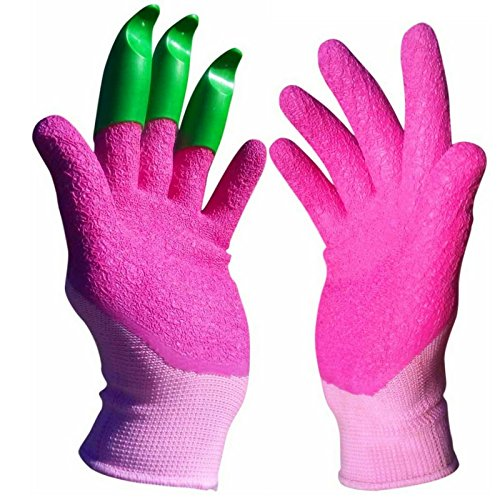 Pink garden gloves with claws from Honey Badger