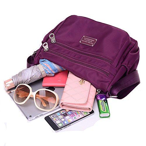 Bag Cross Casual Purple Purse Messenger Tote Shoulder Handbag Waterproof Bag Body Women Nylon for Pocket Bag New 2 Multi Ladies rUZrzq
