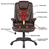 Mecor Heated Office Massage Chair-High-Back PU Leather Computer Chair w/360 Degree Adjustable Height & Armrest (Brown)