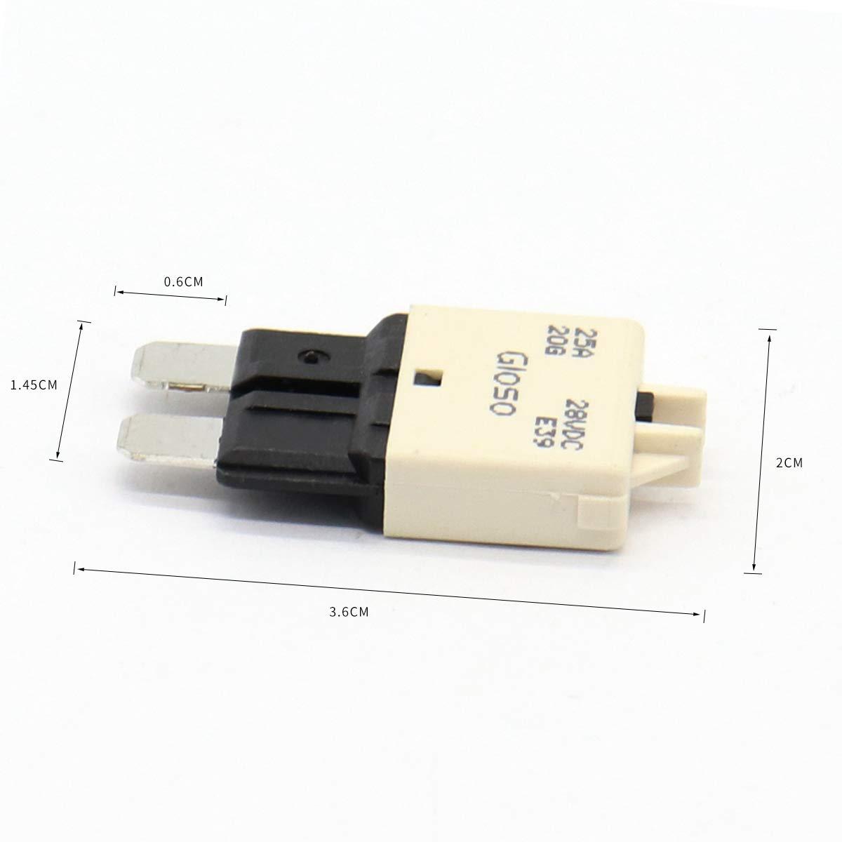 amarillo LIOOBO 20A 28V DC Fusible de cuchilla Mini Interruptor de circuito Restablecimiento autom/ático Rally marino de ATM Fusible