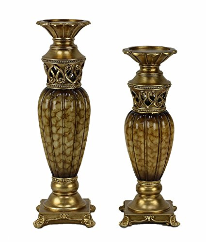 D'Lusso Designs Rossetta Design Two Piece Hurricane Candlestick Set