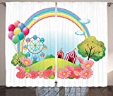 Circus Decor Curtains Village Hill With Circus Tents Balloons A Ferris Wheel Rainbow Daisies Living Room Bedroom Decor 2 Panel Set