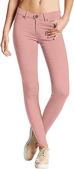 Womens Stretchy Fall-Winter Low Rise Leggings Solid Skinny Jeans Denim Pencil Pants