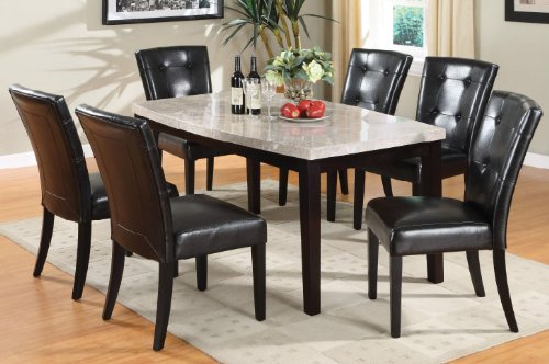 Inland Empire Furniture Marion I Marble Top with Espresso Finish Solid Wood & Leather 7 Piece Dining Set (Marble Empire Top)