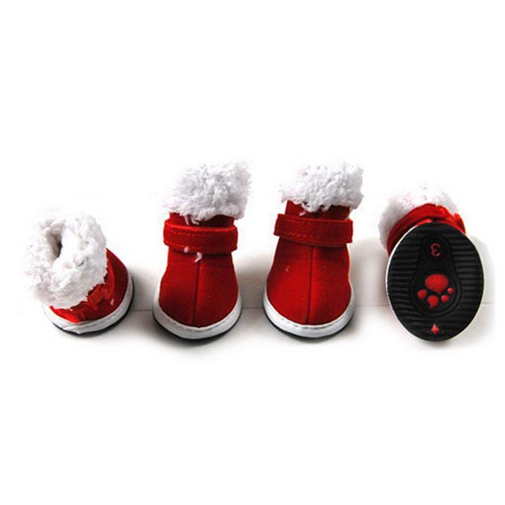 SELMAI Fashion Warm Snow Christmas Pet Shoe Boots Plush Brim Winter Red XS,for Small Dog Cat Puppy