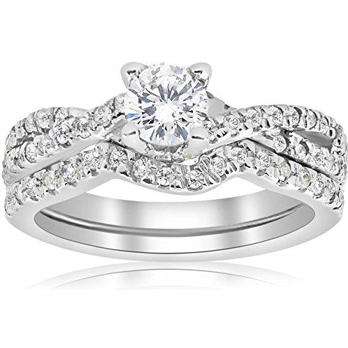 (1ct Infinity Diamond Engagement Wedding Ring Set 14K White Gold - Size 8.5 )