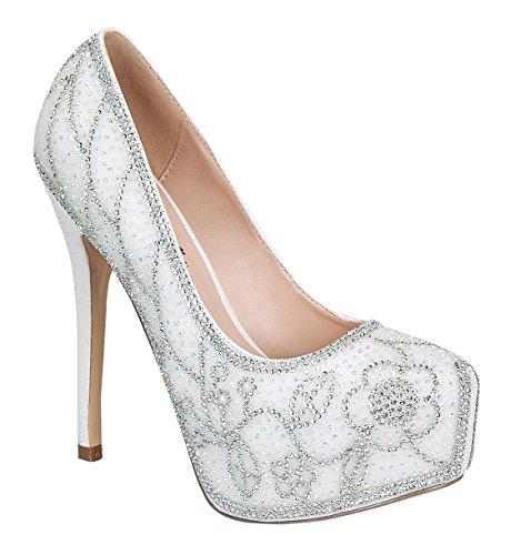 Womens Kinko-165 Shimmer Almond Round Toe Dressy High Heel Pump Bianco 11