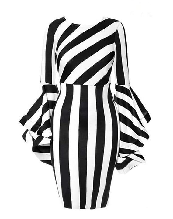 Yuheng Plus Size Dress For Women Fashion Round Neck Stripe Middle