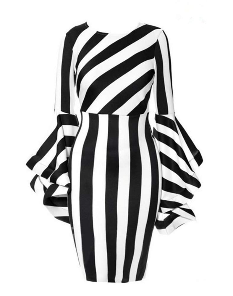 Women's Elegant Flared, Long-Sleeved Skirts Have a Soft, Supple Texture and a Thin Black and White Stripe